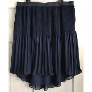 Navy Pleated High-Low Skirt